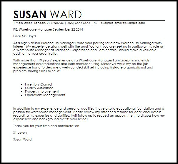 Warehouse Manager Cover Letter Sample | LiveCareer
