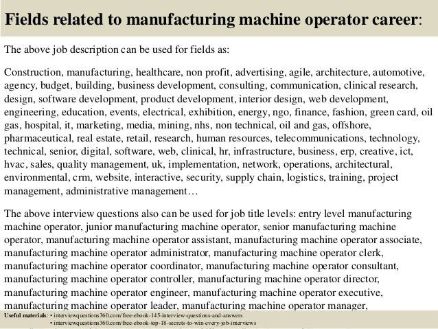 Top 10 manufacturing machine operator interview questions and answers