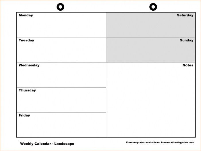 Monday-friday Calendar Template * Calendar Printable Template