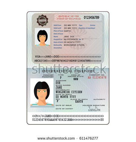 Open Nepal International Passport Visa Sticker Stock Vector ...