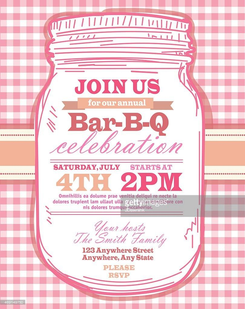 Mason Jar Bbq With Pink Tablecloth Picnic Invitation Design ...