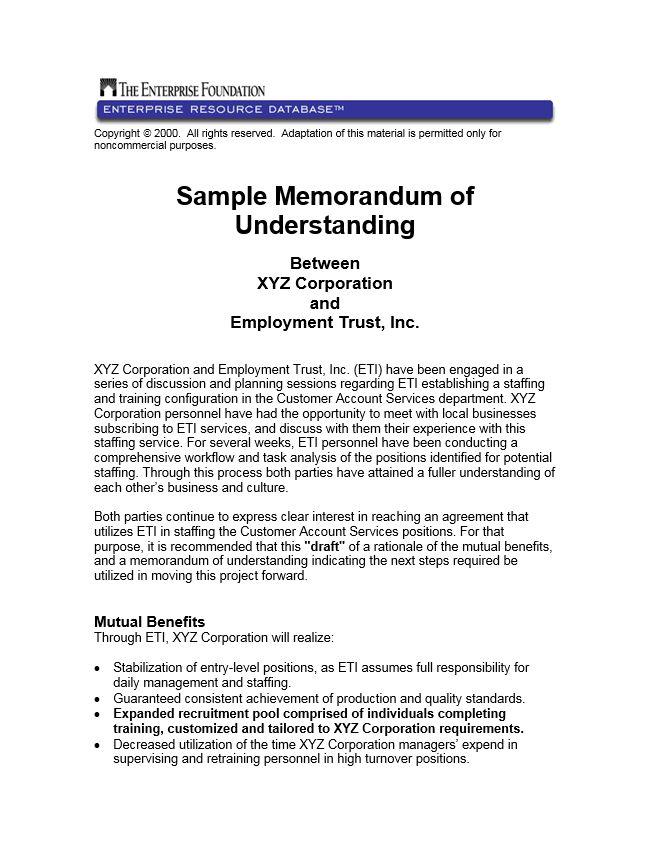 Sample Memorandum of Understanding between XYZ Corporation and ...