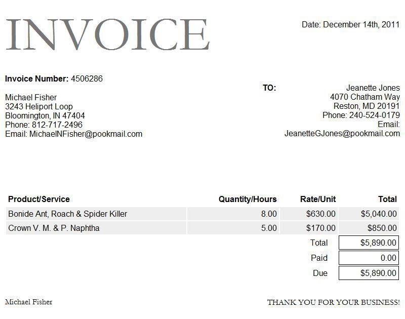 sample invoice format in word | Free Invoice