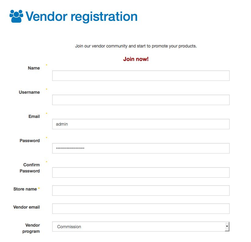 Vendor Registration Setup - Joobi