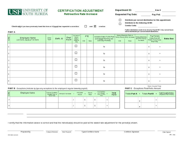 Certification Adjustment Retroactive Rate Increase Form - Hashdoc