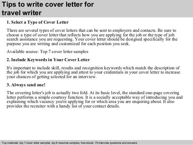 Travel writer cover letter