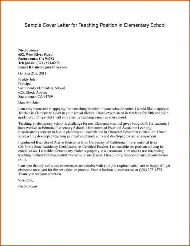 teacher assistant cover letter examples