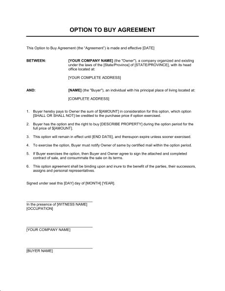 Option to Buy Agreement - Template & Sample Form | Biztree.com