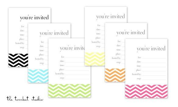 HGTV} Free Printable Chevron Invitations & Favor Tags in 6 Colors ...