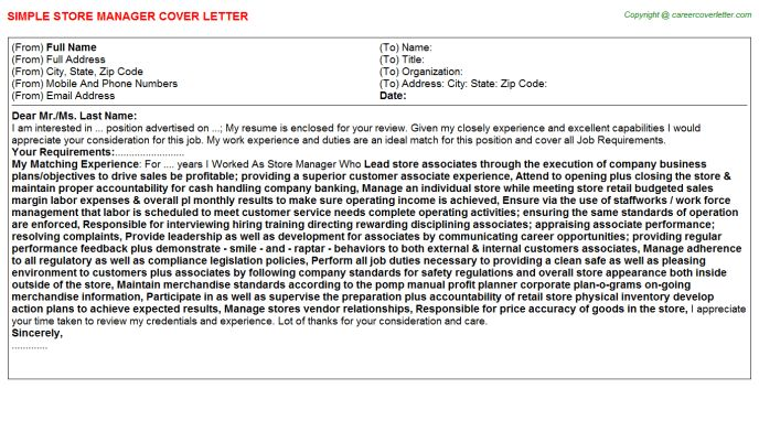 Starbucks Store Manager Cover Letters