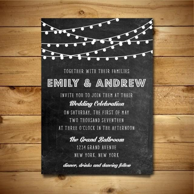 Printable Chalk Wedding Invitation Template - Dark Grey & White ...