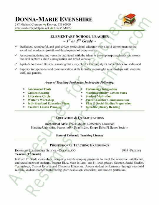 Samples Of Teachers Resumes | Experience Resumes