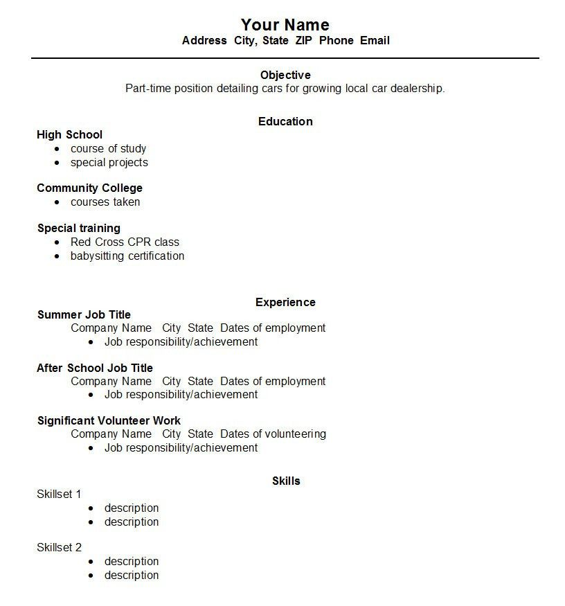 A Good Resume Example For A Highschool Student - Resume Templates