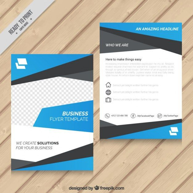 Blue abstract business flyer template Vector | Premium Download