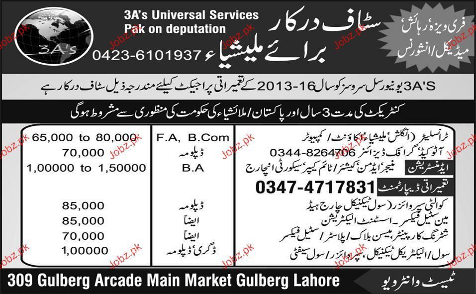 Manager Admin, Graphic Designer, Steel Fixer Required 2017 Jobs ...