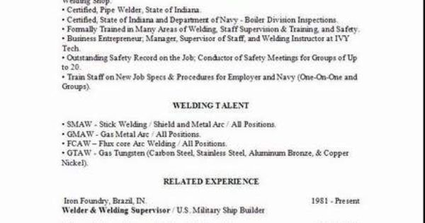 Welder Resume2 | cheater page | Pinterest | Welding, Resume and ...