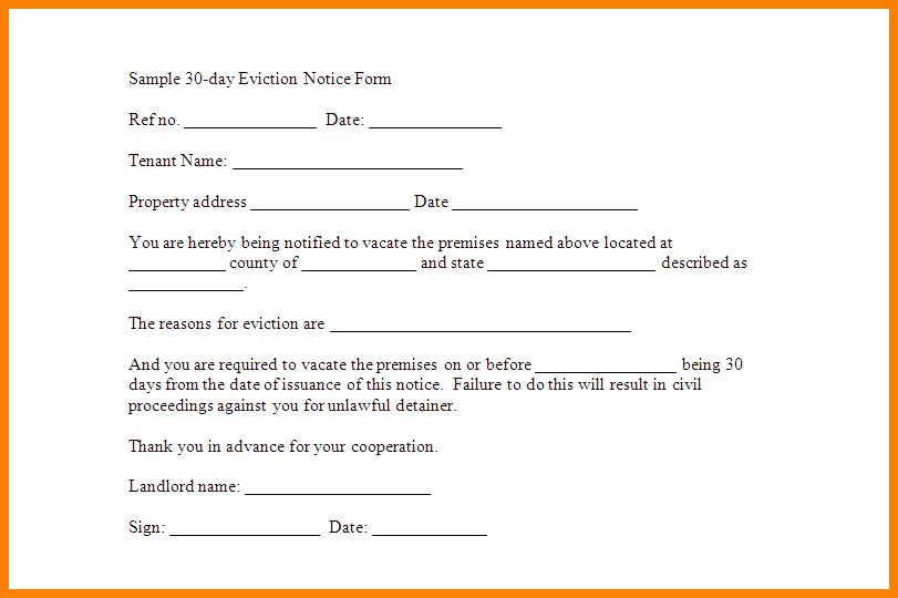 5+ printable 30 day eviction notice | letter format for