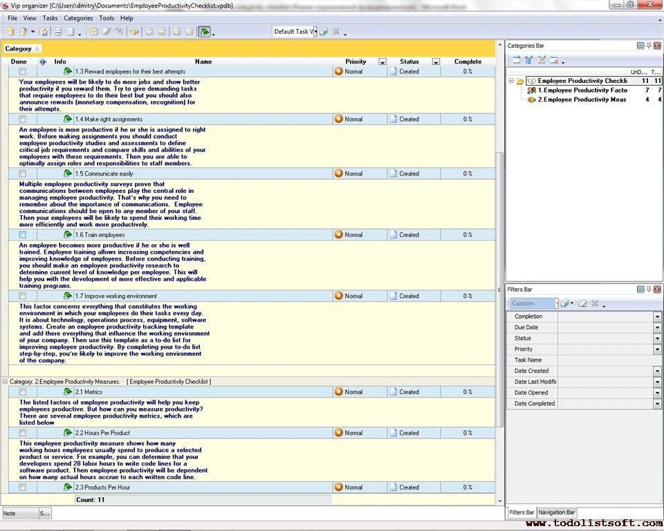 Employee Productivity Checklist - To Do List, Organizer, Checklist ...