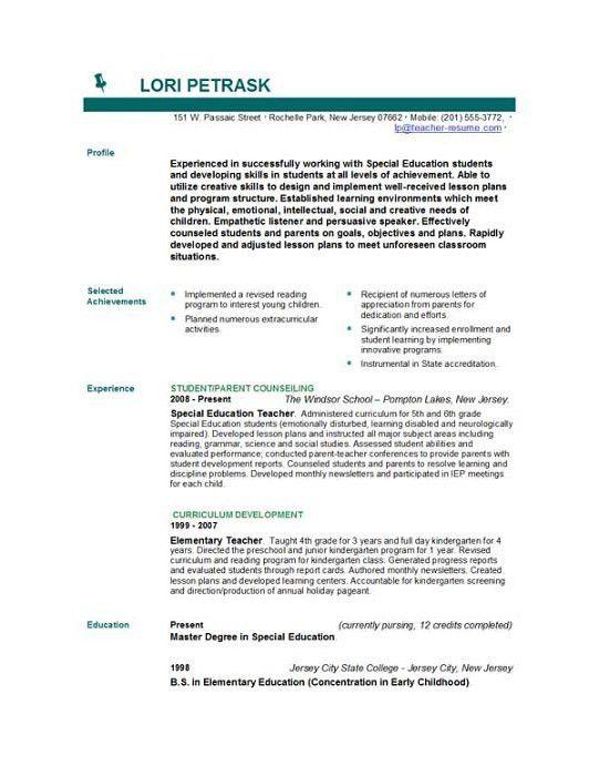 good teacher resume examples english teacher resume sample 2015