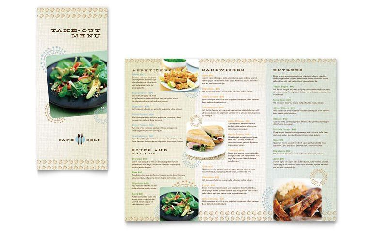 Cafe Deli Take-out Brochure Template - Word & Publisher