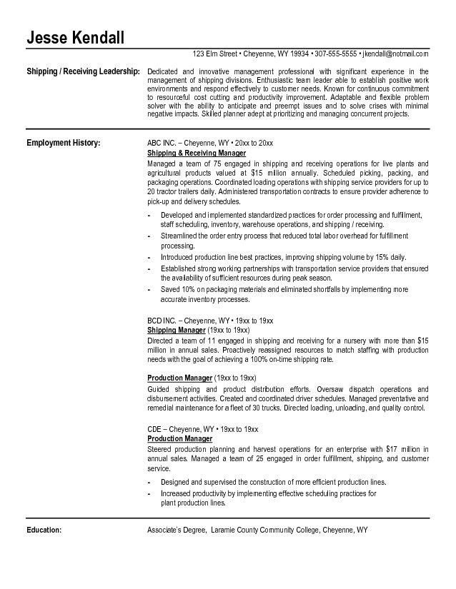 Shipping And Receiving Manager Resume | The Best Letter Sample