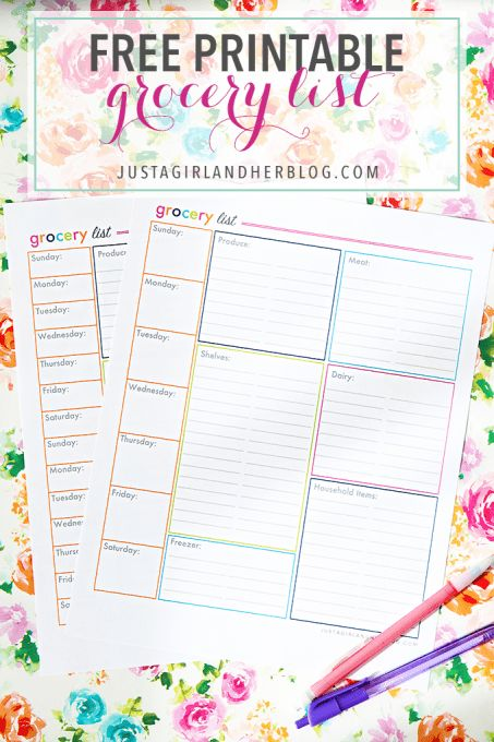 An Organized Grocery List and FREE PRINTABLES | Free printable ...