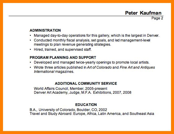 Example of resume title