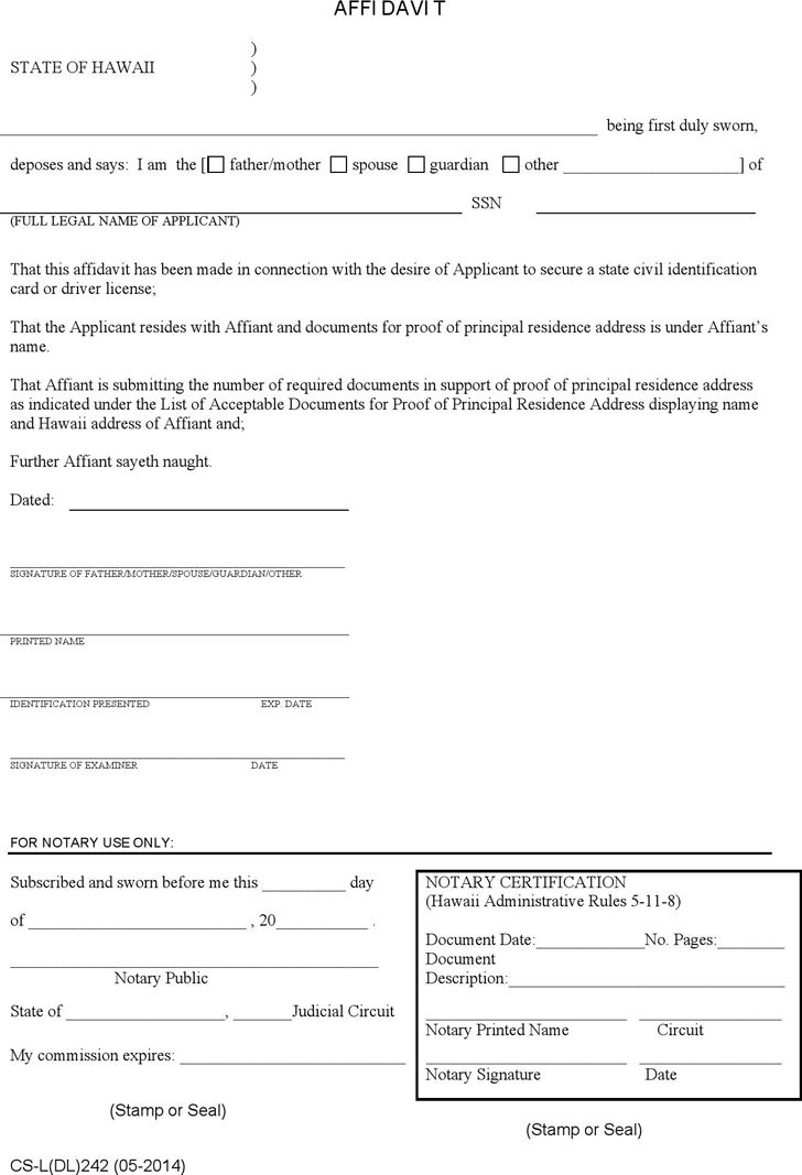 Free Hawaii Affidavit for Proof of Residence Form - PDF | 36KB | 1 ...