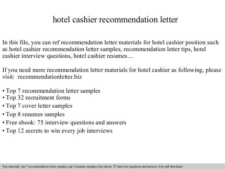 Hotel cashier recommendation letter