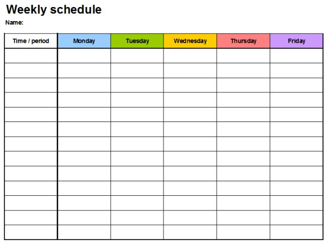 Weekly Planner Template - 7 Free Schedule Planners