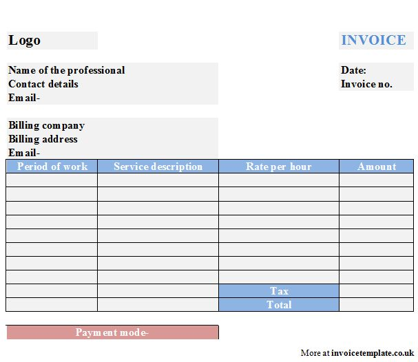 Professional Services Invoice Template Free - Resume Templates