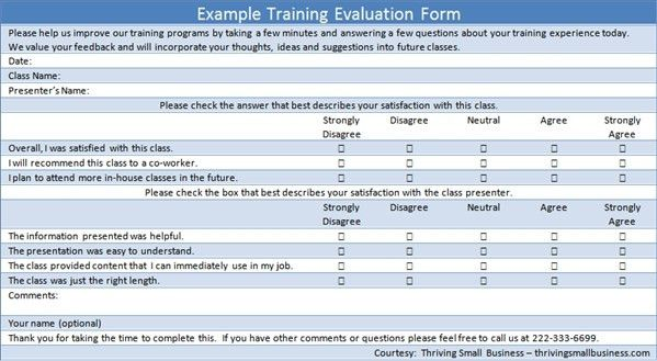 Sample Training Evaluation Form U2014 The Thriving Small Business