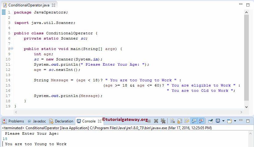 Java Ternary Operator