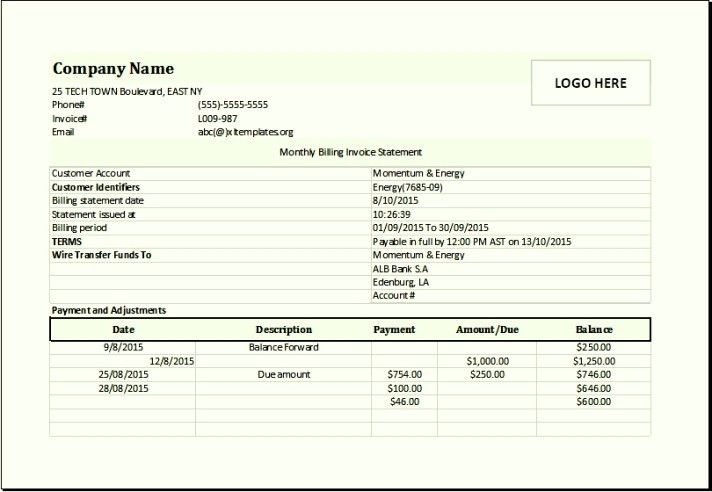 Sample Monthly Billing Invoice Statement Template Excel | TemplateZet