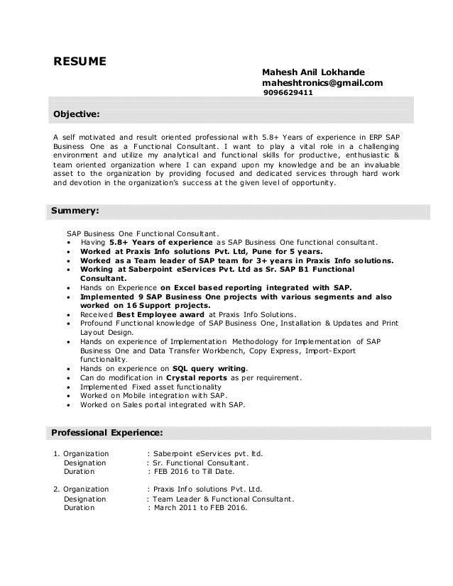 sap b1 functional consultant resume mahesh anil lokhande ...