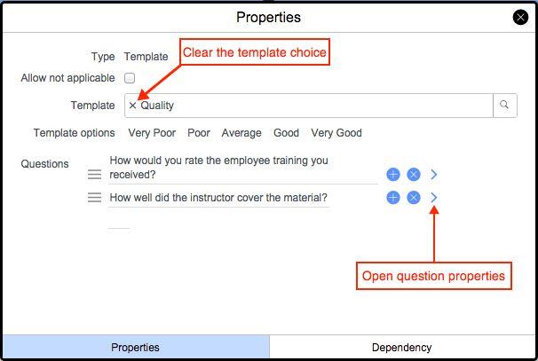 Create a survey designer template question