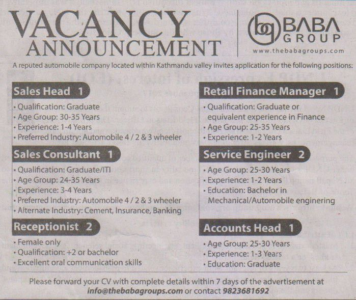 Sales Head/ Sales Consultant, Receptionist/ Retail Finance Manager ...