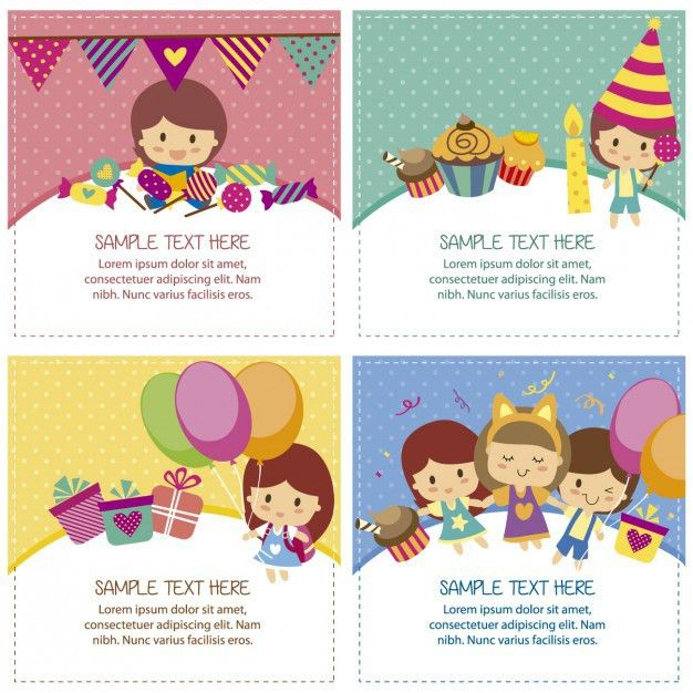 Birthday cards with cute children Vector | Free Download