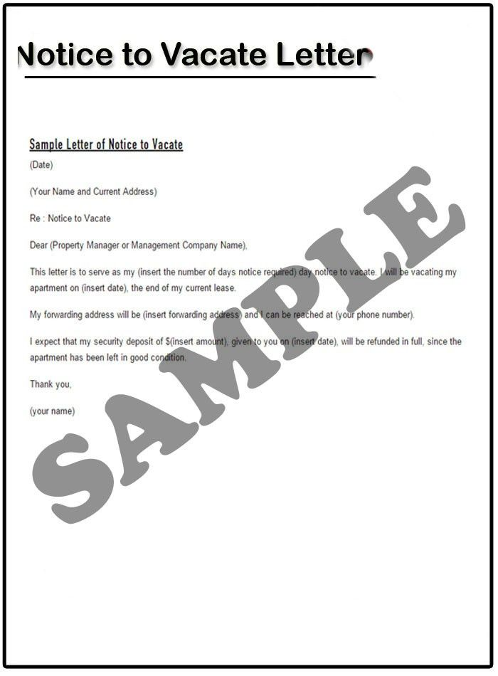 sample intent to vacate letter. eviction notice template word ...