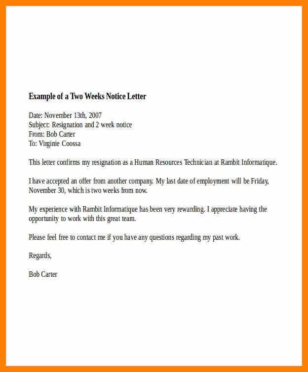 11+ two weeks notice letter example | army memo format