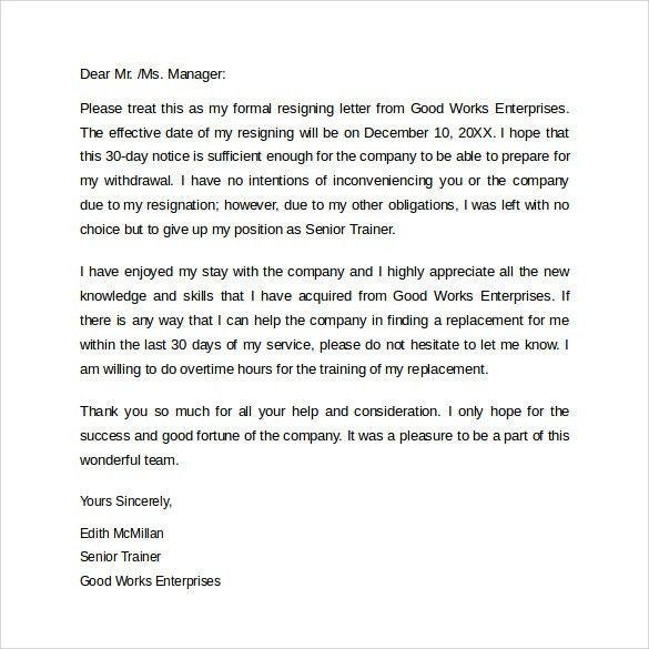 10 sample resignation letter basic job appication letter sample of ...