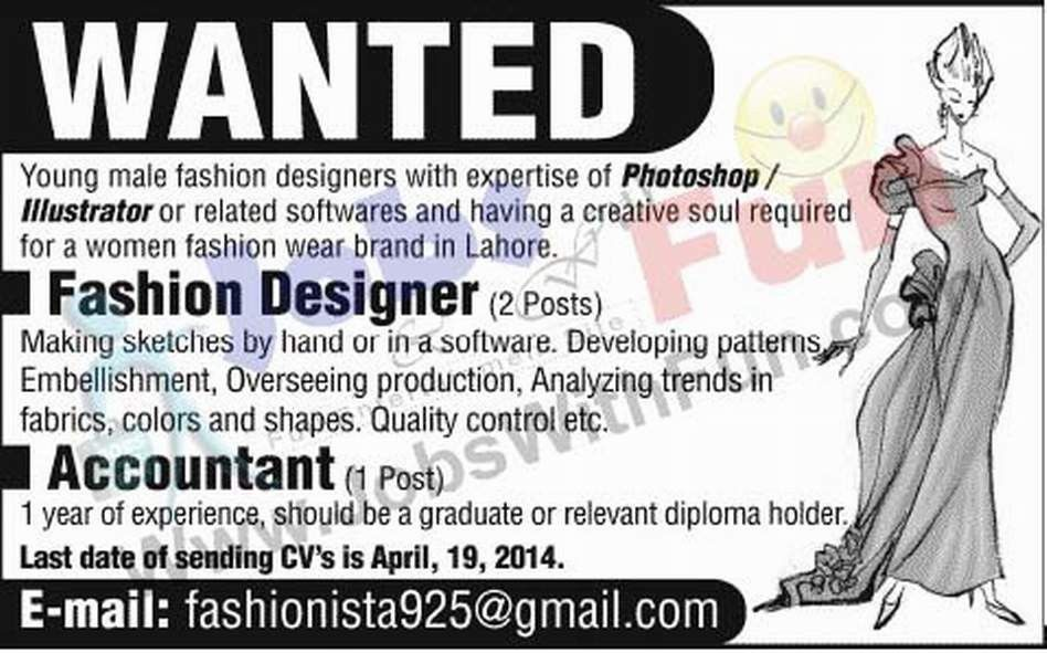Fashion Designer And Accountant Jobs In Pakistan | Jobs ...