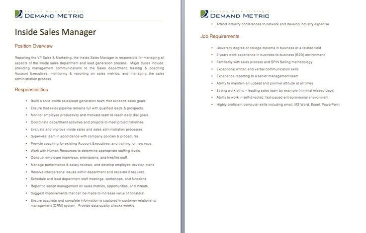 Inside Sales Manager Job Description - A template to quickly ...