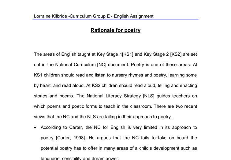 Rationale for poetry. - A-Level Psychology - Marked by Teachers.com