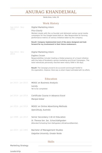 Digital Marketing Intern Resume samples - VisualCV resume samples ...