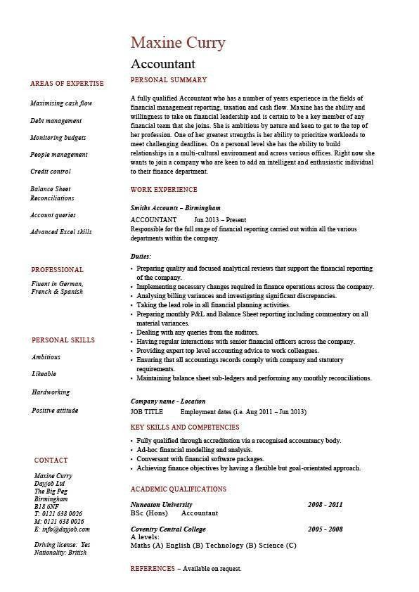 entry level accounting jobs resume with Accountant resume example ...
