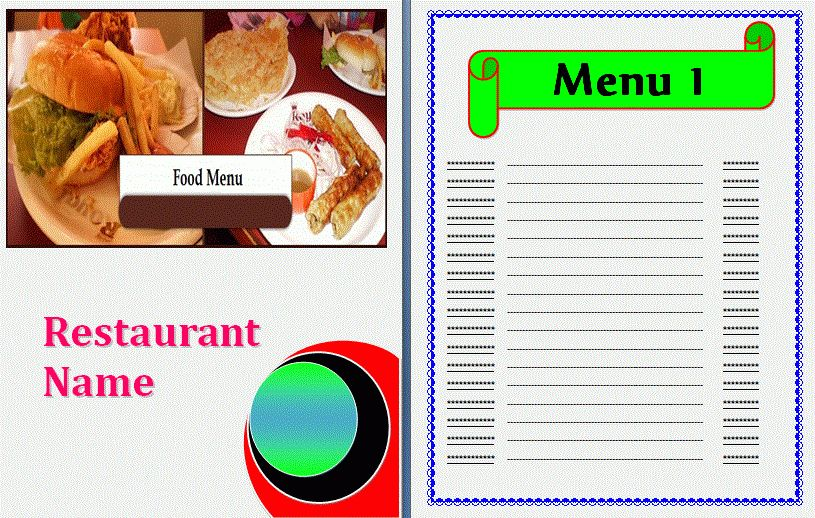 Food Menu Template | Formsword: Word Templates & Sample Forms