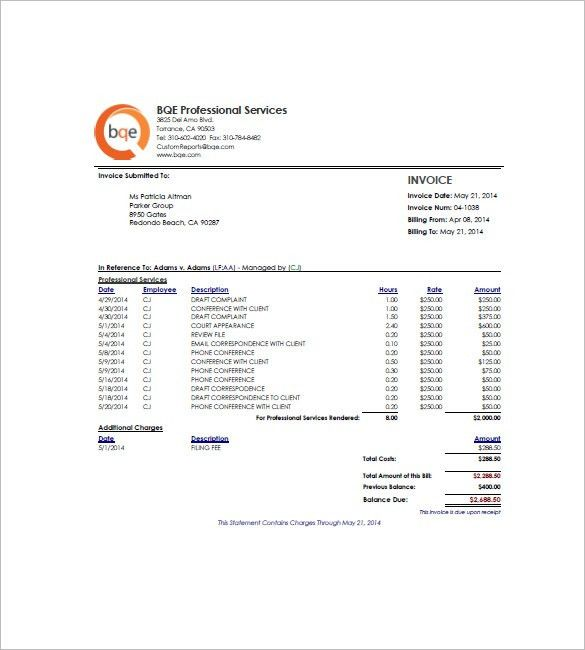 Hourly Invoice Template – 6+ Free Sample, Example, Format Download ...