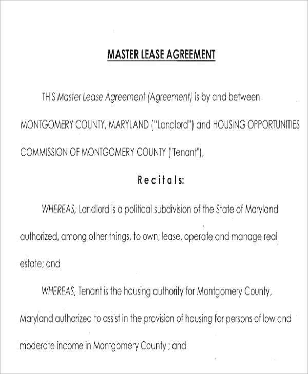 7+ Master Lease Agreement Sample   Examples In Word, PDF