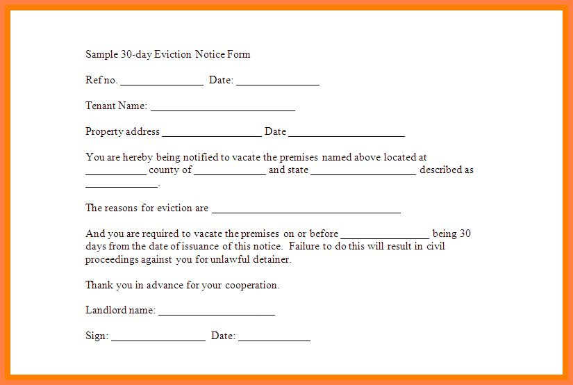 7+ 30 day eviction notice form template | Second Notice Letter